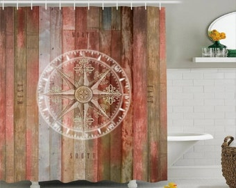 Rustic Compass Rose  Nautical Shower Curtain  Rose of the Winds Original Design CUSTOM MADE