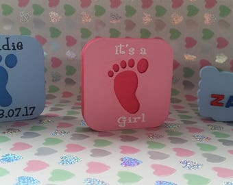 Personalised baby footprint plaque