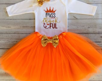 Miss Thankful Outfit Girl / Baby Girl Thanksgiving Outfit / Baby Girl Thanksgiving Bodysuit / Thanksgiving Tutu / Miss Thankful / Baby Girl