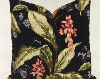 Pillow Cover - Hawaiian - Bark Cloth - Tropical Design - Tropical Floral - Black - Green -  Red - Fully Lined - Invisible Zipper