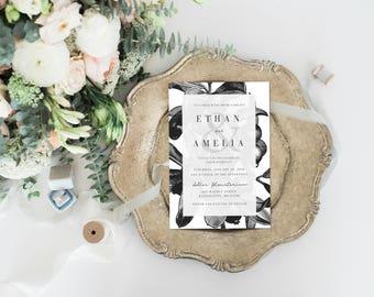 Black and White Vintage Botanical Wedding Invitation Set, Matching RSVP & Details Cards, Printable Wedding Invitation, Digital Invitation