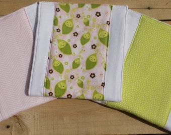 Set of 3 Sweet Pea Burp Cloths - Baby Shower Gift