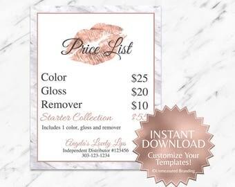 Rose Gold|Marble|Editable|LipSense Price List|LipSense Price Sign|LipSene Printables|LipSense|SeneGence|LipSense Pricing|LipSense Template|
