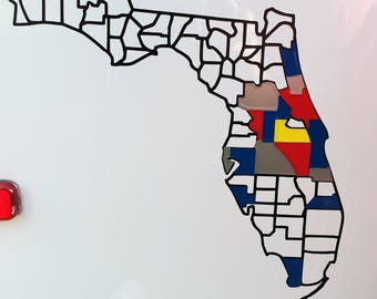 Florida County Decal Map - Camper decal, Florida decal, RV decal, Camping decal, Florida Map, Florida County Map, Camping tracker decal