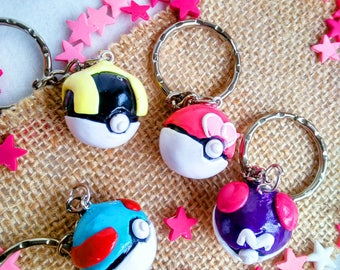 Keychain inspired pokeballs, Pokemon, Polymer clay
