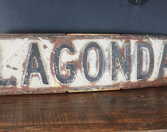 Vintage Lagonda Street Sign, Black and White Street Sign, Vintage Industrial Decor, Vintage Street Sign