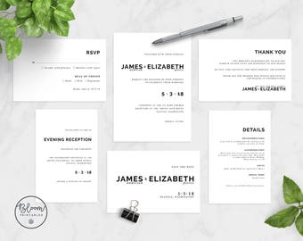 Minimal Wedding Invitation Set, Printable Wedding Invitation, Minimal Wedding, Wedding Stationery, Wedding Suite,Black & White,Save The Date