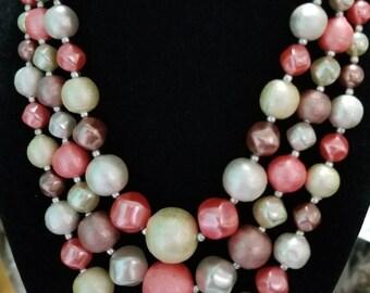 Vintage Triple Strand beaded necklace signed Japan