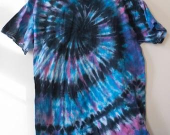L Black and Blue Spiral Tie Dye T-shirt