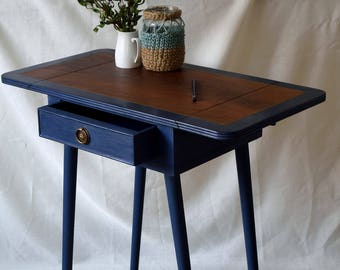 Retro Style, Console Table, Entry Way, Drop Leaf Table, Ink Blue