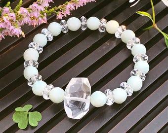 Amazonite and Crystal Quartz Yoga Mala Beaded Bracelet. Healing Natural Gemstone Bracelet. Wrist Mala. Lucky Bracelet. Stretch Bracelet.
