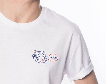 White T-shirt man/child's embroidered Tiger Meow
