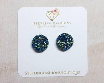 Medium - Dark Blue with Green and Gold Specs Druzy
