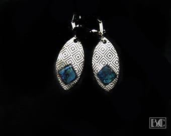 Blue checkerboard abalone earrings