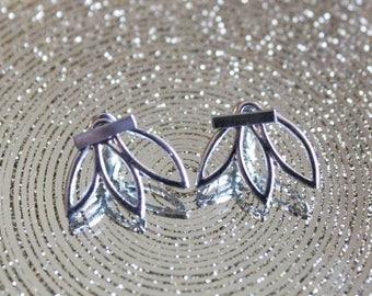 Lotus Flower - Silver - Ear Jacket - Earrings