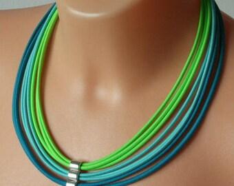 Fabric necklace, multi strand necklace, statement necklace, jewelry sets, textile jewelry, boho jewelry, rainbow jewelry, colourful necklace