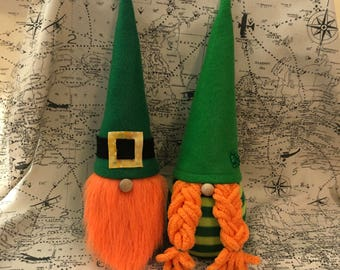 Leprechaun Gnome St. Patrick's Day Decor Couple Boy and Girl Tomte March Nisse Decor Scandinavian Gnomes Irish Decoration