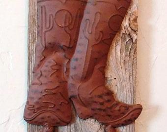 Western Boot Wall Hook, Horseshoe Decor, Coat Hook, Rustic Coat Hook, Western Decor, Wall Decor, Country Decor, Hat Rack