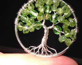Peridot Tree of Life Pendant Necklace with Artistic Wire Silver  Plated. Tarnish Resistant Silver. natural Peridot