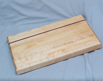 "Curly Maple and Purple Heart Cutting Board 17""x11""x2"""