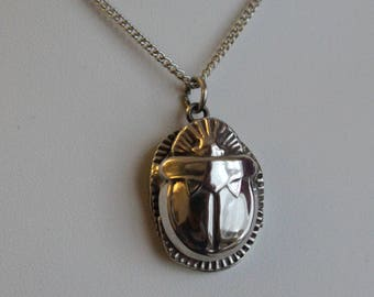 Vintage Egyptian Silver Scarab Pendant With Silver Chain