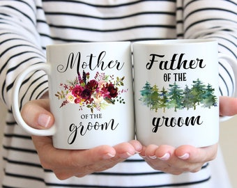 Mother of the Groom Father of the Groom, Mug Set, Gift for Mom and Dad, Mother Wedding Gift, Wedding Gift For Dad, Bridal Shower Gift