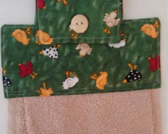 Hanging Dish Towel, Green topper with multi color chickens and tan towel