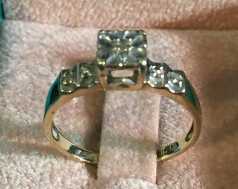 Antique Yellow and White Gold Diamond Engagement Ring