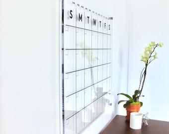 Acrylic Calendar - Dry Erase Calendar -  Lucite Calendar