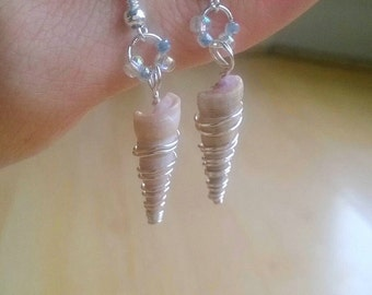 Wire Wrapped Cone Shell Earrings