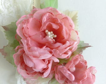 Pale coral fabric flowers, flower hair clip, fabric flower brooch, coral chiffon flowers vintage, Shabby Chic flowers, chiffon flowers boho
