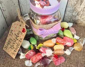 Old Fashioned Sweets Personalised Mason Jar