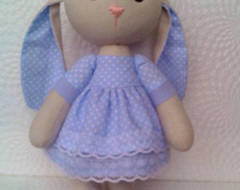 Handmade Вunny in blue/rabbit in blue dress/ doll Handmade/ toy/ Home decor /Gift for girl