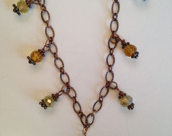 Crystal and Antique Copper Necklace