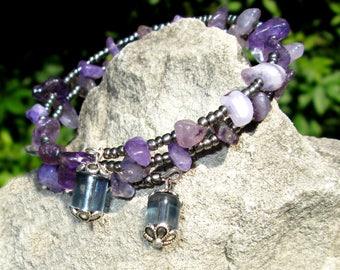 Amethyst Wire Wrap Bracelet - Memory Wire Bracelet - Memory Wire Wrap Bracelet - Wrap Bracelet - Amethyst Bracelet - Christmas In July
