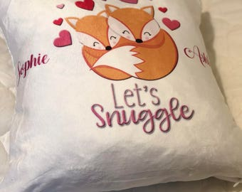 Personalised Valentine's Let's Snuggle Cushion Throw cushion, Scatter Cushion, Personalised Pillow,   Inner Pad Included  With Your Name