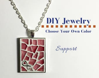 Do It Yourself Necklace Making Kit Cancer Awareness Ribbon Kit, DIY Support Ribbon Necklace, Mosaic Glass Craft Kit, Gift Under 15