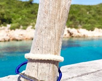 Feather Bracelet - Silver Bracelet - Boho Bracelet - Blue Bracelet - Summer Bracelet