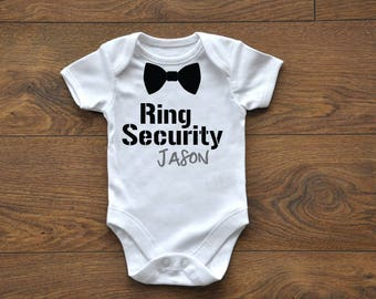 CUSTOM Wedding Outfit, baby Bodysuit, Little Ring bearer, Ring Security, Bow Tie Onesie, Baby Boy Wedding Outfit, Name Bodysuit,