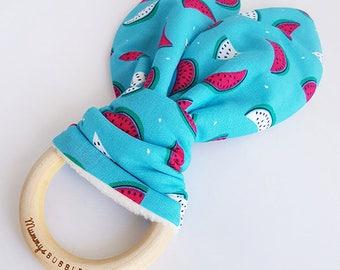Melons Bunny Ear Teether, Melon Teether, Teething Ring, Wooden Teething Ring, Teething