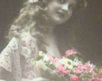 Vintage Hand Tinted RPPC, Pretty Little Girl with Curly Hair and Flowers