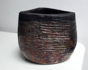 Black Bronze Copper Raku Hand Made Ceramic Triangular Vase