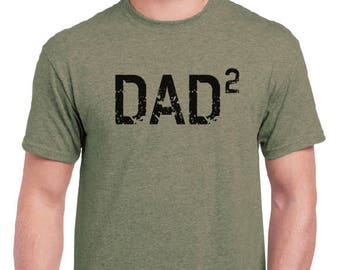 Dad Shirt-DAD 2- Husband Gift, T Shirt, Fathers Day Gift Mens t-shirt, New Dad, Pregnancy announcement, Funny T shirts Gift For him Mens tee