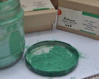 Cobalt green light. Dry Pigment for artwork. USSR.