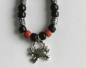 Crab pendant long thong beaded necklace