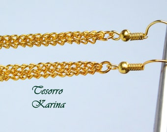 Earrings with three chains of thin golden color, Earring-chains as a gift to a woman / girl