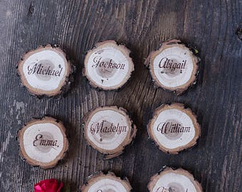 25 Rustic wedding place cards, Wood escort card, Wood reception cards, Wood name cards, , Personalized place cards, Custom wood table decor