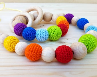 Set of Teething necklace and Rattle Rainbow color Teething toy Teething beads Nursing necklace Baby rattle Natural Crochet wooden beads