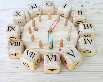 Wooden Number Blocks PINE Math wood blocks Natural Organic Clock Toy Handmade Educational toy Math blocks Engraved Handmade Mathematics toy