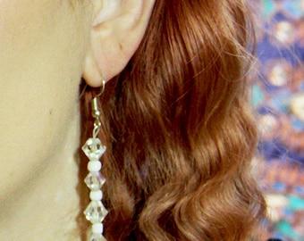 3 Crystal Lotus Drop Earrings